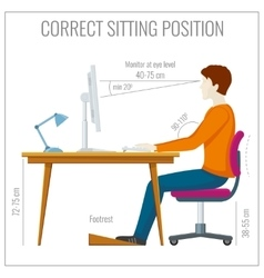 Correct spine sitting posture at computer vector