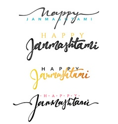 Calligraphy for greeting card inscription happy vector
