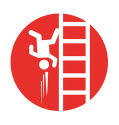 Accident on ladder insurance icon vector