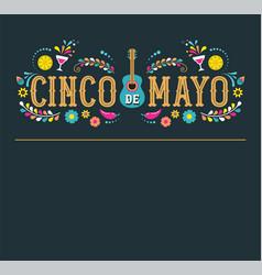 cinco de mayo fiesta poster design with flags vector image vector image