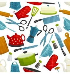 Cooking utensils kitchenware seamless pattern vector