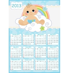 Cute monthly baby calendar for 2013 vector image