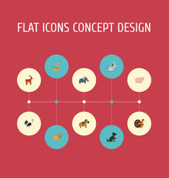 flat icons trunked animal moose gobbler and vector image vector image