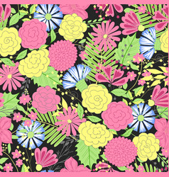 Flower pattern colorful seamless botanic vector