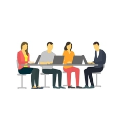 Four people at the desk strict but vivid style vector
