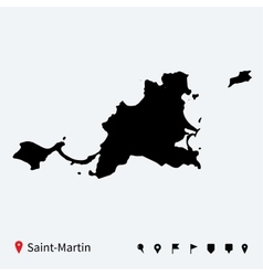 High detailed map of saint-martin with navigation vector