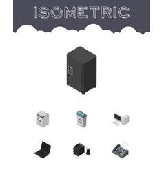 Isometric work set of desk file rack garbage vector