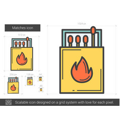 Matches line icon vector