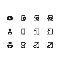 mobile phone chart icons vector image