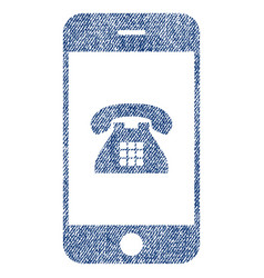Mobile phone fabric textured icon vector