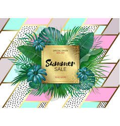 Sale square summer sale tropical leaves frame on vector