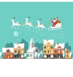 Santa claus on sleigh urban winter landscape vector