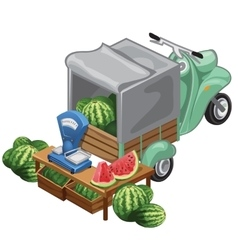 Selling watermelon harvest from scooter vector