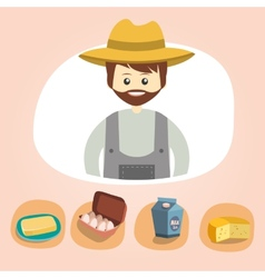Set of colorful farm icons dairy produce vector