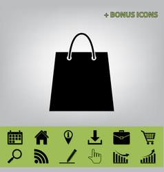 Shopping bag black icon at vector