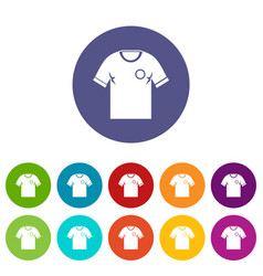 Soccer shirt icons set flat vector