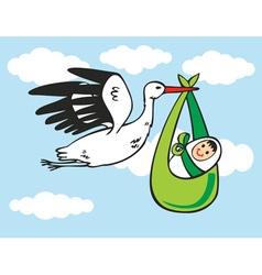 Stork brings baby vector