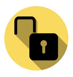 unlock sign flat black icon vector image