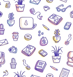 Whats on my table purple colorful seamless pattern vector image vector image