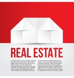 White paper house on red background Concept for vector image