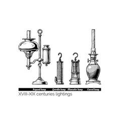 Xviii - xix centuries lightings vector
