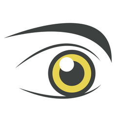 Yellow bright eye perfect brows isolated on white vector