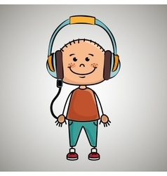 Kid headphones music icon vector