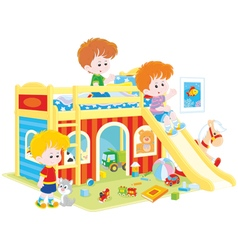 Little boys playing vector