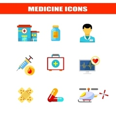 Medical icons set  in flat style vector image