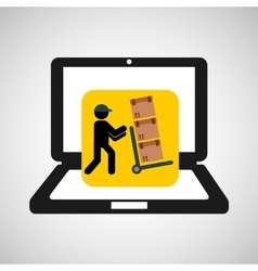 Online delivery concept delivery man pushing boxes vector