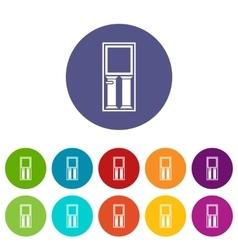 Wooden door with glass set icons vector image