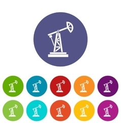 Oil rig set icons vector