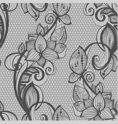 Seamless pattern black lace background old vintage vector