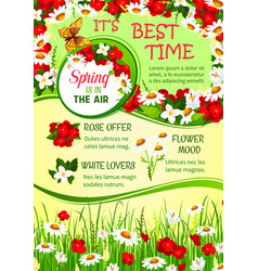 Spring holidays flower wreath greeting poster vector