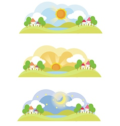 Landscape in the morning noon and at night vector