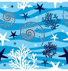 Shells and starfish seamless pattern vector image