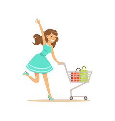 Happy woman in a blue dress running with shopping vector