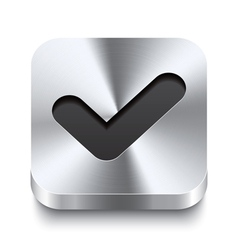 Square metal button perspektive - checkmark icon vector