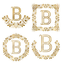 Golden b letter ornamental monograms set heraldic vector