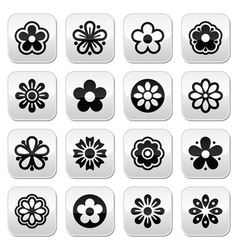 Flower head buttons set vector