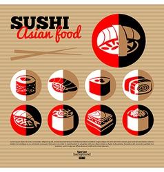 Japan sushi Flat icon set vector image