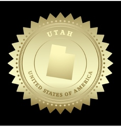 Gold star label Utah vector image