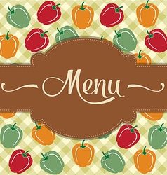 Restaurant menu design with sweet peppers vector