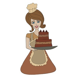 Housewife serving cake with cream vector