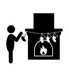 Christmas decoration home man with fireplace and vector