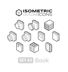 Isometric outline icons set 43 vector