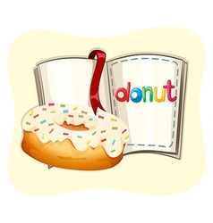 Donut with white frosting and book vector