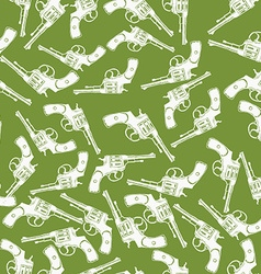 Hand drawn revolver gun seamless pattern vector