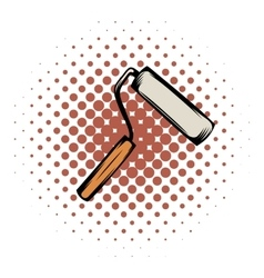 Paint roller comics icon vector