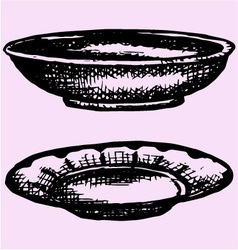 Empty bowl plate vector